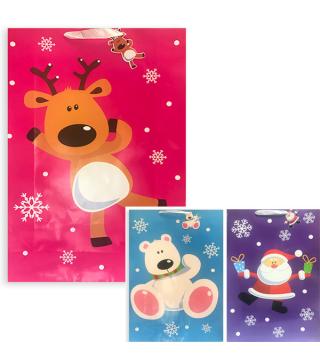 Подарунковий пакет Санта Ведмідь/Олень 70*47*16 папір,плівка 291378 Гулівер