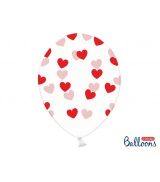 """Кульки поштучно з малюн. 12""""прозорі в сердечка червоні Ш-79884 PartyDeco"""