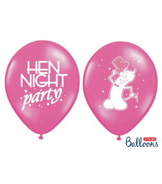 "Кульки поштучно з малюн. 12""Hen night harty P.Hot Pink Ш-49251 PartyDeco"