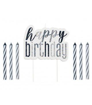 Свічка в торт з фігурками Happy Birthday 12+1 парафін 83862 Unigue