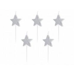 Свічка в торт з фігурками Срібні зірочки з блисківками 5шт/уп парафін 10578 PartyDeco