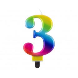 """Свічка цифра """"3 Galaxy 8,0см парафін 11519 Godan"""