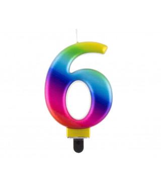 """Свічка цифра """"6 Galaxy 8,0см парафін 11522 Godan"""