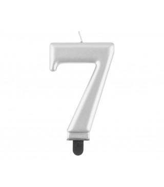 """Свічка цифра """"7 срібна металік8,0см парафін 12459 Godan"""