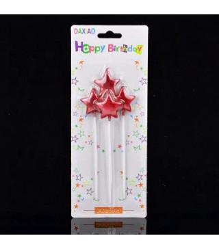 Свічка в торт з фігурками Happy birthday Зірки червоні 4шт/уп. парафін 56576 Китай