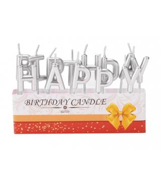 """Свічка """"Happy Birthday""""(Срібло) парафін 453185 Китай"""
