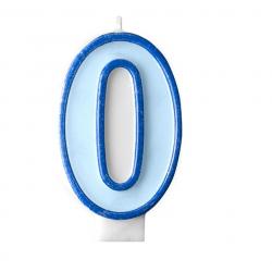 Свічка цифра 0 блакитна