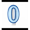 Свеча цифра 0 голубая