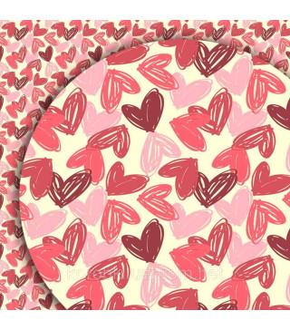 Пакувальна упаковка Подарунковий папір Сердечка70*100см (поштучно) 07877 MARTA