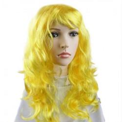 Перука Хвиляста  жовта 50см штучне волосся S-10736 Китай