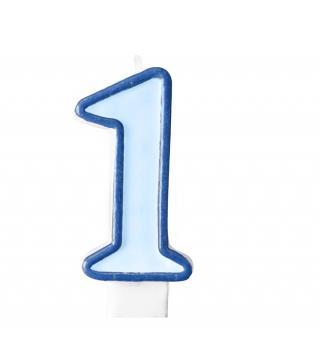 Свеча цифра 1 голубая