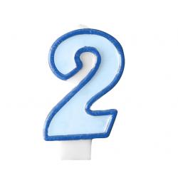 Свічка цифра 2 блакитна