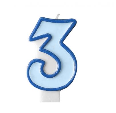 Свеча цифра 3 голубая