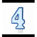 Свеча цифра 4 голубая