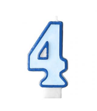 Свічка цифра 4 блакитна