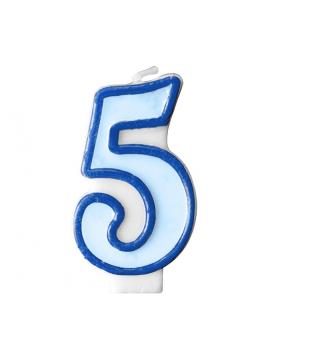 Свічка цифра 5 блакитна