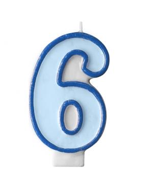 Свічка цифра 6 блакитна