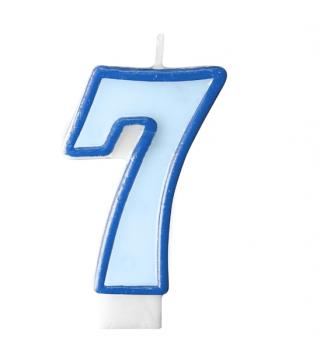 Свеча цифра 7 голубая
