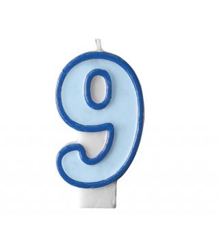 Свічка цифра 9 блакитна