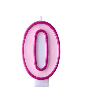 Свеча цифра 0 розовая
