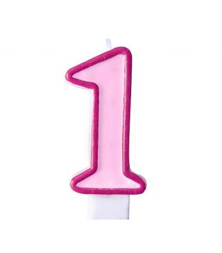 Свічка цифра 1 рожева