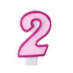 Свічка цифра 2 рожева