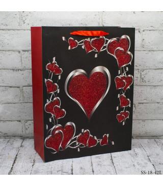 Подарунковий пакет Love білі/чорні 30*40*12см картон 30911 Китай