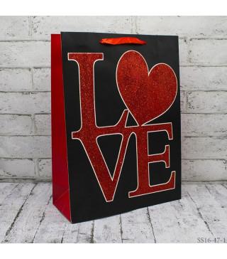 Подарунковий пакет Love 26*32*10см картон 26471 Китай