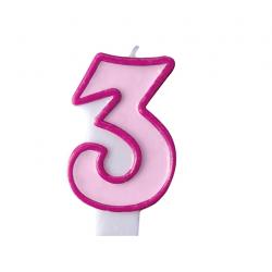 Свічка цифра 3 рожева