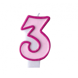 Свеча цифра 3 розовая