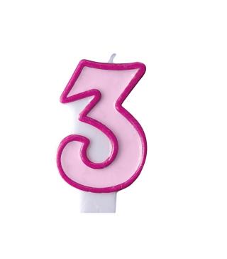 Свеча для торта цифра 3 розовая