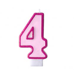 Свеча цифра 4 розовая