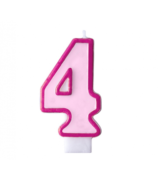 Свеча для торта цифра 4 розовая