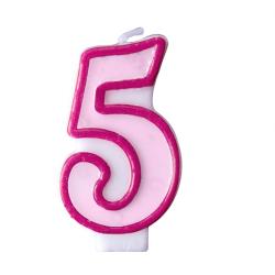 Свеча цифра 5 розовая