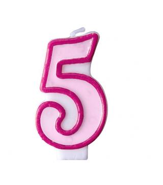 Свічка цифра 5 рожева