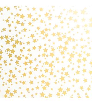Пакувальна упаковка Папір подарунковий зірки золоті. 2м*70 рулон папір 03476 Україна