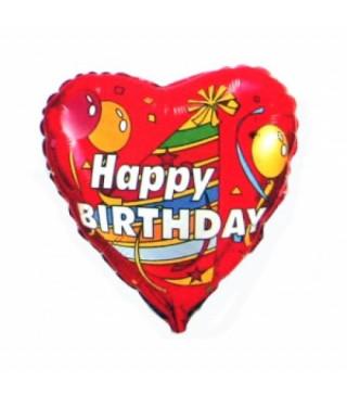 Кульки міні Серце Happy Birthday фольга 902526 FlexMetal