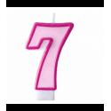 Свеча цифра 7 розовая