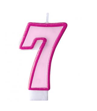 Свічка цифра 7 рожева