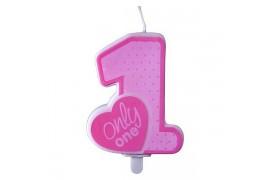 Свічка цифра 1Only one рожева