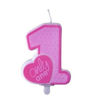 Свеча цифра 1 Only one розовая