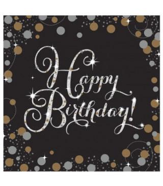Салфетки Happy Birthday, черные 16 шт / уп