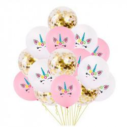 """Набір кульок Єдиноріг""""конфеті 8 шт./уп.+ стрічка латекс 06697 Китай"""