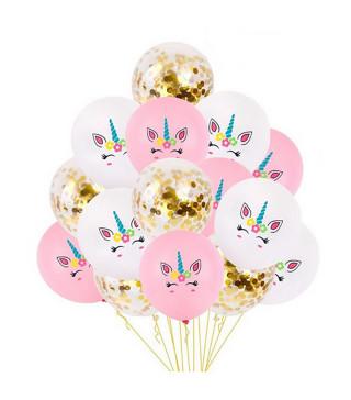 Набор шариков Единорог с конфетти 8шт/уп