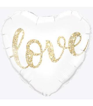 Кульки фольг з малюнк. Серце Love золотом конфеті на білому фольга 215210 Китай