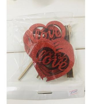 Декорація на стіл ТОПЕР Серце LOVE червоний з блисками дерево T-5559 Україна