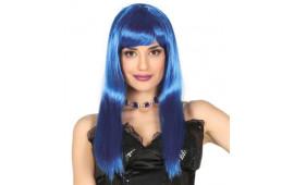 Перука Пряма синя штучне волосся S-10719 Китай