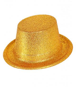 Шляпа Цилиндр золотой с блестками