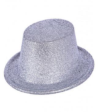 Шляпа Цилиндр серебряный с блестками