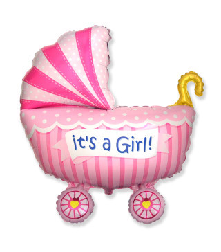 Кульки міні Коляска рожева фольга 901741 FlexMetal